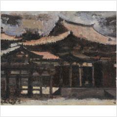 12須田国太郎-烈日下の鳳凰堂(平等院)-1936s